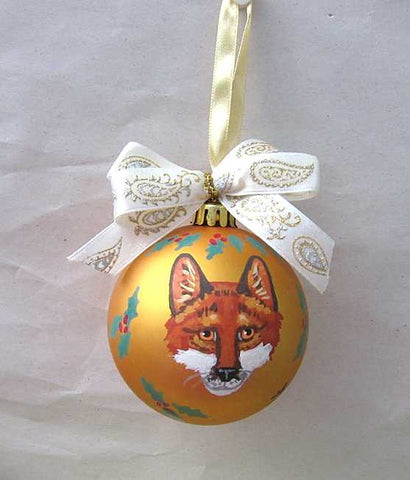 "Artist Painted RED FOX MASK FACE 3"" Gold Ball Christmas Ornament GORGEOUS!"