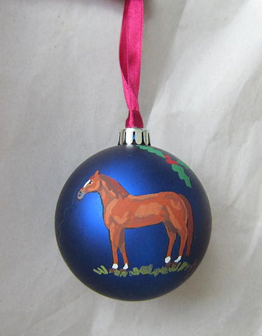 "Artist Painted CHESTNUT HORSE Blue 3"" Ball Christmas Ornament NICE!"