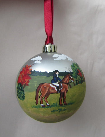 "Artist Painted Scenic ENGLISH Horse/Rider Chestnut Horse 3"" Silver Ball Ornament"