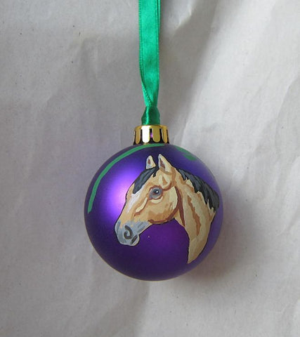 Artist Painted HORSE HEAD BUCKSKIN Purple Small Ball Ornament NICE!