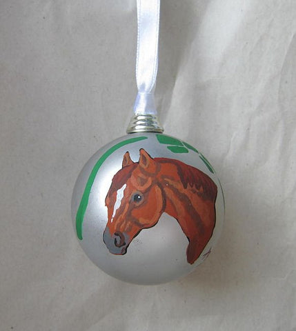 Artist Painted HORSE HEAD CHESTNUT II Silver Small Ball Christmas Ornament