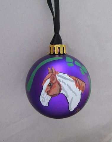 Artist Painted HORSE HEAD PAINT HORSE Purple Small Ball Ornament NICE!