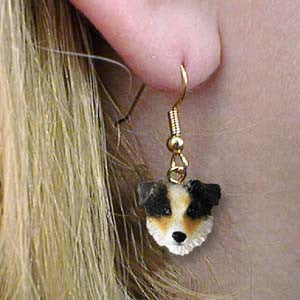 CLEARANCE Dangle Style AUSTRALIAN SHEPHERD BLUE  Dog Head Earrings
