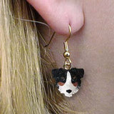 Dangle Style AUSTRALIAN SHEPHERD TRI Dog Head Resin Earrings Jewelry CLEARANCE