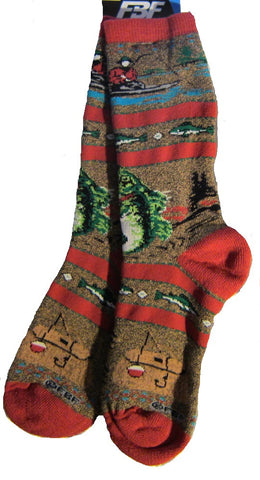 Great Outdoors FISHING RIVER Sportsman Adult Cushioned Socks Medium 6-11