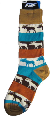 Wildlife Animal MOOSE MEGA STRIPE Adult Socks size Medium 6-11