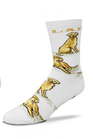 Bare Adult Size LAB RETRIEVER YELLOW Poses Adult Socks size Medium 6-11