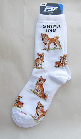 4Bare Adult Size SHIBA INU Poses Adult Socks size Medium 6-11