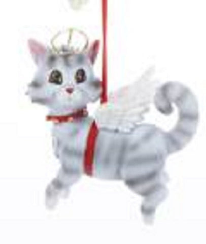 CLEARANCE..Cat Angel GRAY TABBY Resin Xmas Ornament