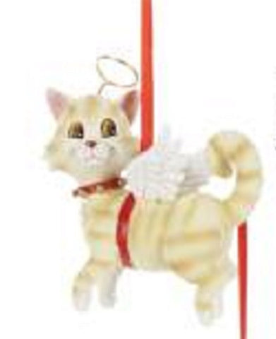 CLEARANCE..Cat Angel ORANGE CAT Resin Christmas Ornament