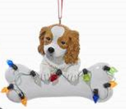 DogBone CAVALIER KING CHARLES RED w/Dog Bone & Lights Resin Xmas Ornament