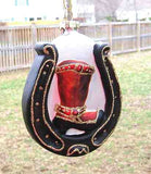 CLEARANCE... Blown Glass COWBOY BOOT Black Horseshoe Xmas Ornament