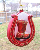 CLEARANCE...Blown Glass COWBOY BOOT Red Horseshoe Xmas Ornament