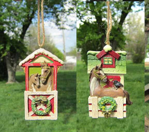 CLEARANCE...HORSE BARN DOOR Resin Christmas Ornament set of 2