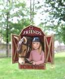 CLEARANCE...GIRL Rider Horse FRIENDS FOREVER Resin Christmas Ornament