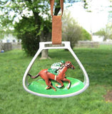 CLEARANCE...RACEHORSE in STIRRUP IRONS Resin Xmas Ornament set of 3