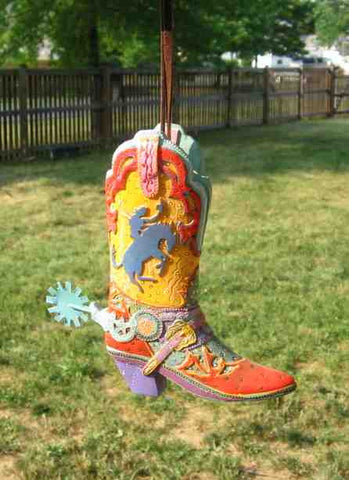 CLEARANCE...COWBOY BOOT Red/Yellow/Teal Resin Xmas Ornament