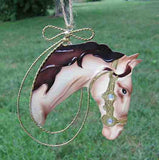 Holiday Tin HORSE HEAD Buckskin w/Jewel Accents Xmas Ornament CLEARANCE SALE