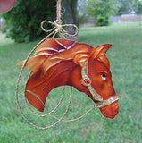 Holiday Tin HORSE HEAD Chestnut w/Jewel Accents Xmas Ornament CLEARANCE SALE