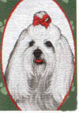CLEARANCE...Woven Fabric MALTESE Dog Breed Christmas Holiday Stocking