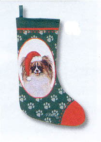 CLEARANCE...Woven Fabric PAPILLON Dog Breed Christmas Holiday Stocking
