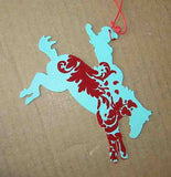 Holiday Cowgirl Metal Silhouette BRONC RIDER Horse Xmas Ornament