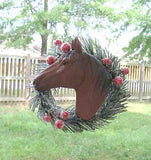 Holiday CHESTNUT HORSE in Wreath Resin Christmas Tree Ornament