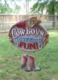CLEARANCE...COWBOYS Stirrup Fun Resin Horse Xmas Ornament