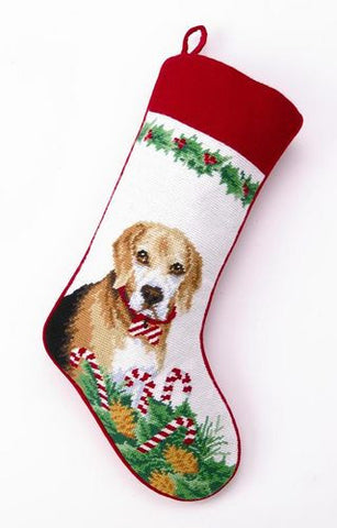 Large Stocking BEAGLE Dog Breed Needlepoint Christmas Holiday Stocking