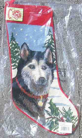Large Stocking SIBERIAN HUSKY Dog Breed Needlepoint Christmas Holiday Stocking