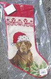 Large Stocking LAB RETRIEVER CHOCOLATE Dog Needlepoint Christmas Stocking