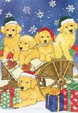 Ten Cards Pack GOLDEN PUPPIES In Cart Dog Breed Christmas Cards USA made