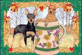 Ten Cards Pack MINIATURE PINSCHER Dog Breed Christmas Cards USA made