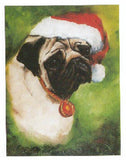 Eight Card Pack PUG w/Santa Hat Dog Breed Christmas Cards