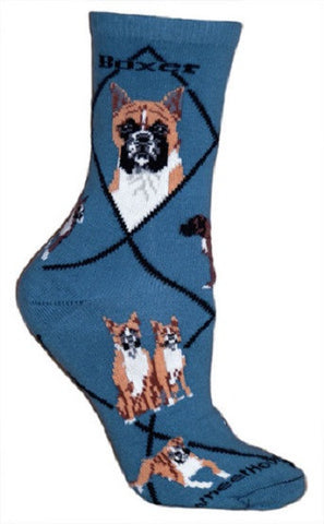 Adult Size Medium BOXER Adult Socks/Blue Made in USA RETIRED COLOR