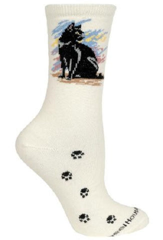Cat Feline BLACK CAT Adult Size Medium Socks/Natural USA made