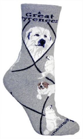 Adult Size Medium GREAT PYRENEES Adult Socks/Gray Made in USA