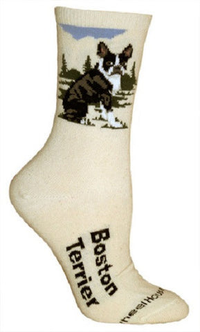 Adult Size Medium BOSTON TERRIER Adult Socks/Natural Made in USA