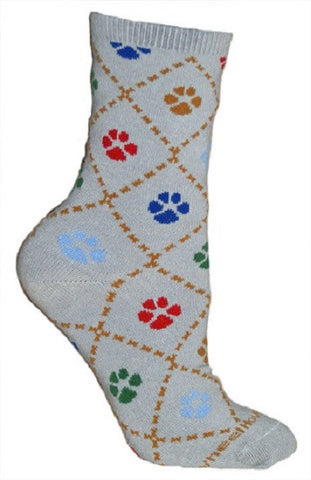 Adult Size Medium DOG PAW PRINT Adult Socks/Gray Made in USA