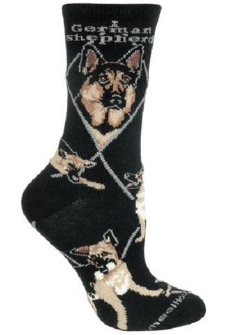 Adult Size Medium GERMAN SHEPHERD Adult Socks/Black Made in USA