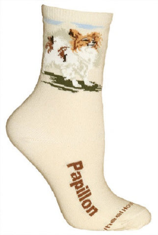 Adult Size Medium PAPILLON Adult Socks/Natural Made in USA