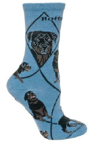 Adult Size Medium ROTTWEILER Adult Socks/Blue Made in USA