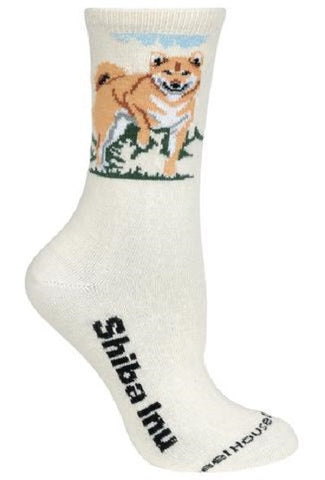 Adult Size Medium SHIBA INU Adult Socks/Natural color Made in USA