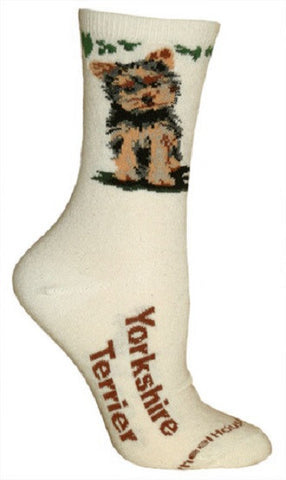Adult Size Medium YORKSHIRE TERRIER Adult Socks/Natural Made in USA