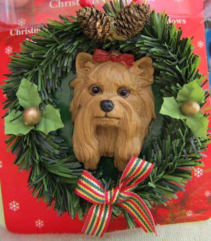 Wreath Xmas Ornament YORKSHIRE TERRIER Dog Christmas Ornament RETIRED