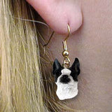 Dangle Style BOSTON TERRIER Dog Head Resin Earrings Jewelry