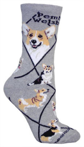 Adult Size Medium WELSH CORGI PEMBROKE Adult Socks/Grey Made in USA