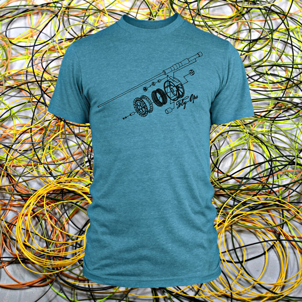 Deconstructed Rod and Reel T-shirt