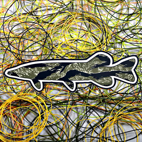 """Tiger Stripe Northern Pike"" Sticker"