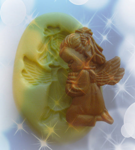 Angel Praying Christmas Mold Left Right Clay Resin Fondant Candy Moulds Faux Metal